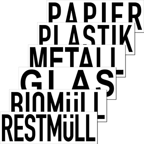 Aufkleber Sticker 20cm Mülltrennung Papier Restmüll Plastik Bio Mülleimer Mülltonne Müll Kontainer Tonne Hinweis 6er Set