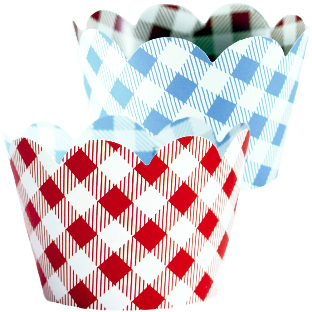 Red Checkered Cupcake Wrappers, 36, Farm Animals Birthday Party Supplies, I Do BBQ Decorations, Baby Q Shower Favor Bag Holder, Country Western Themed Cup Cakes, Cowboy B-Day, Blue Gingham Wraps by Confetti Couture (Image #1)