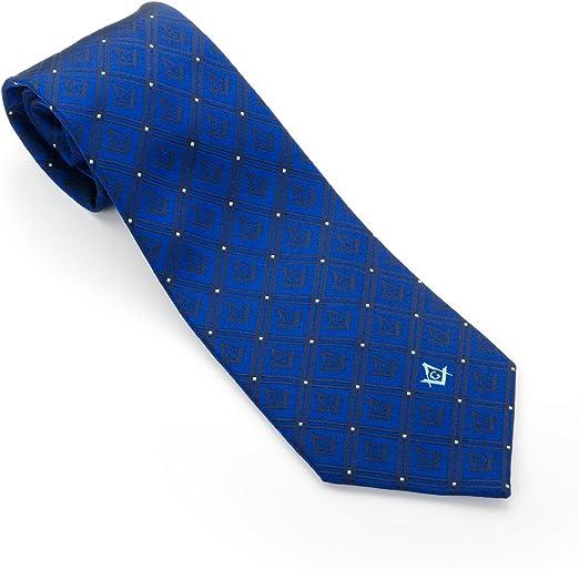 Azul corbata seda tejida con cuadrado y compás con G Masónica ...