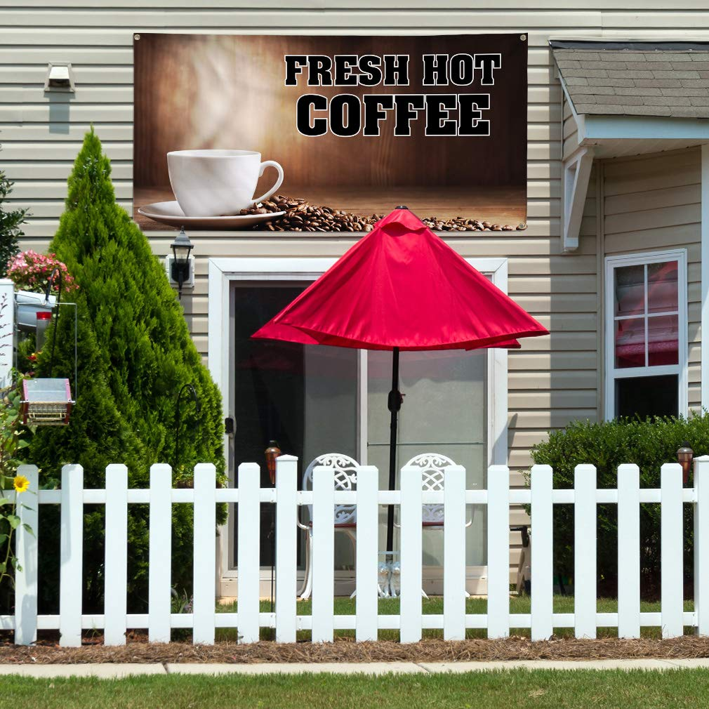 48inx96in One Banner Multiple Sizes Available Vinyl Banner Sign Fresh Hot Coffee #1 Style A Outdoor Marketing Advertising Brown 8 Grommets