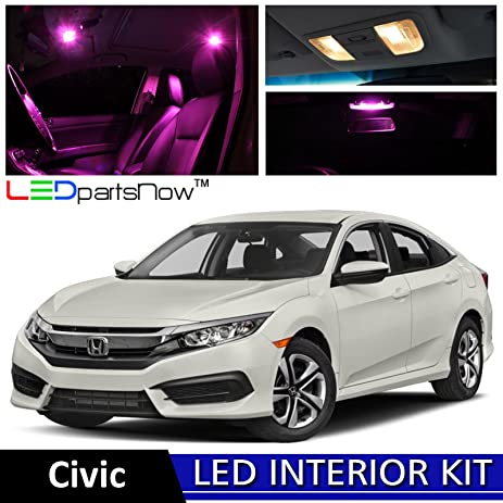 LEDpartsNow 2013 2018 Honda Civic LED Interior Lights Accessories  Replacement Package Kit (8 Pieces