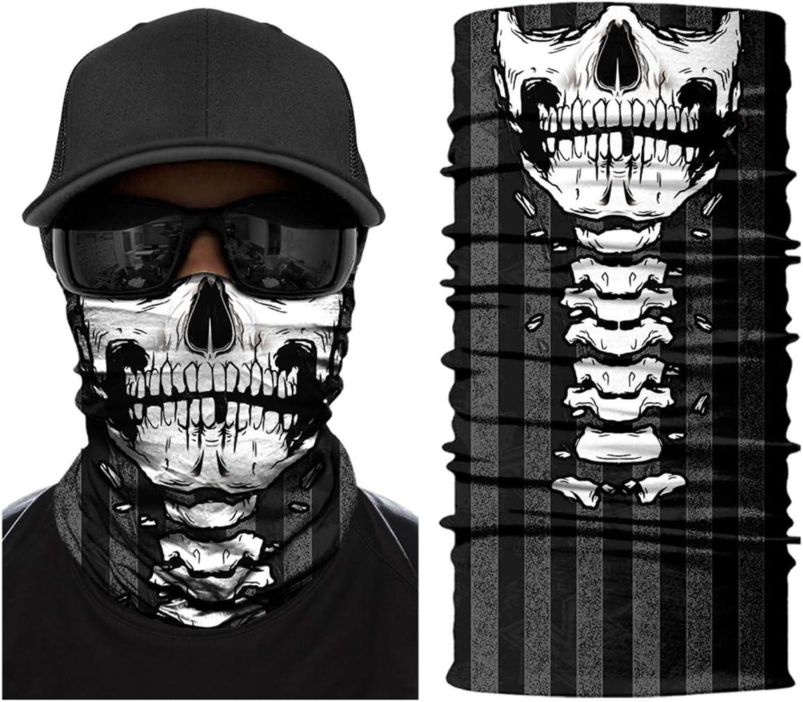 Ecombos Multifunctional Face Mask Printed Seamless Adjustable Skull Bib Sport Riding Sun Cream Mask Tube Scarf Bandana Ski Motorcycle Bekleidung