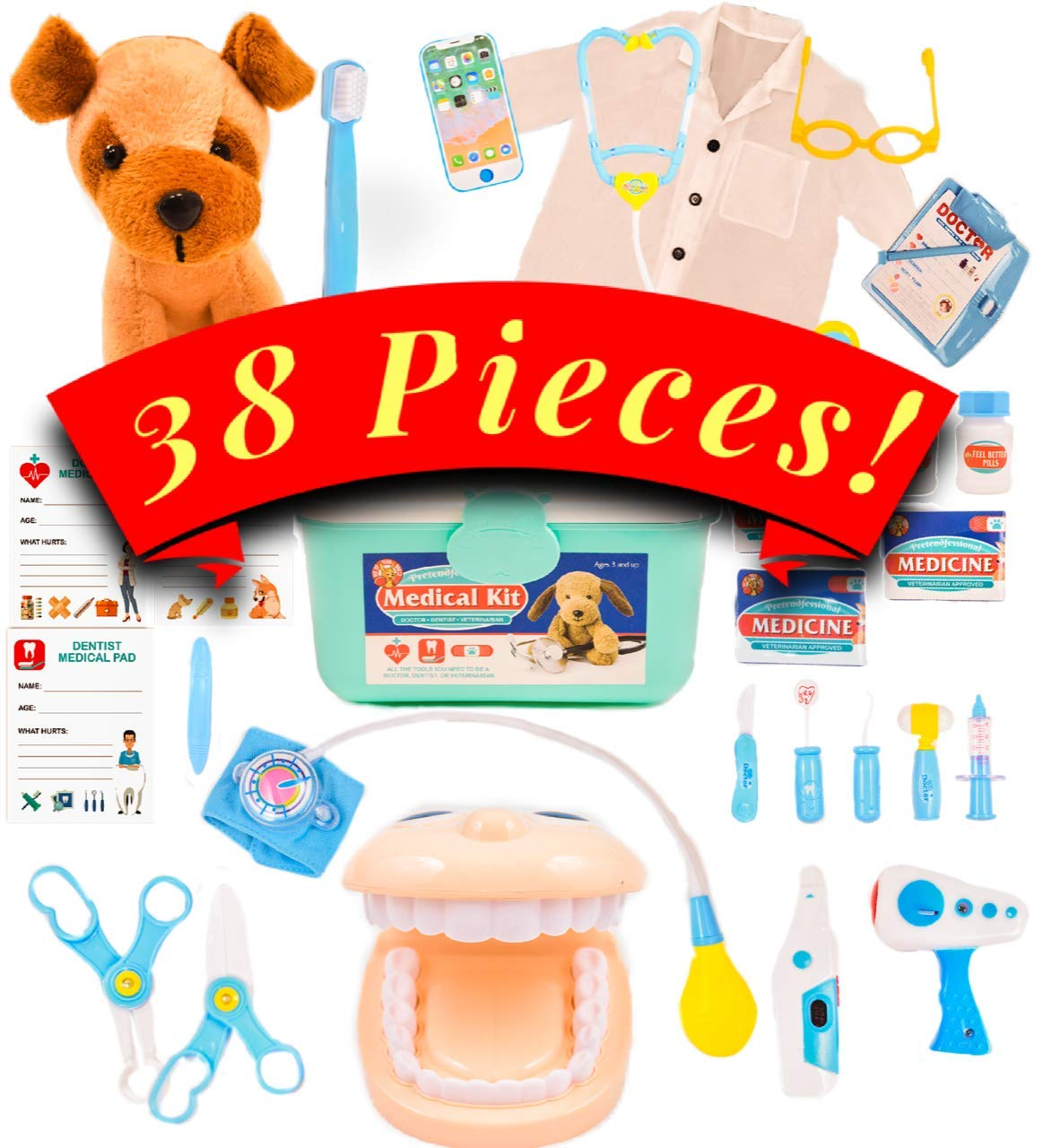 Pretend Medical Kit - Doctor Kit for Kids with Lab Coat - Dentist Kit and Veterinarian Kit for Kids with Teeth Set and Dog patients - Doctor, Nurse, Dentist or Veterinarian by PUYD