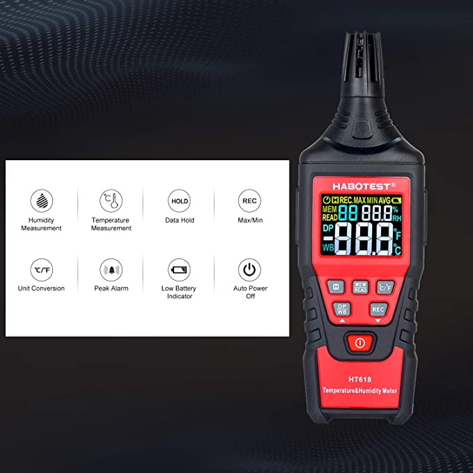 HT618 Temperature and Humidity Meter LCD Digital Thermo-Hygrometer Psychrometer