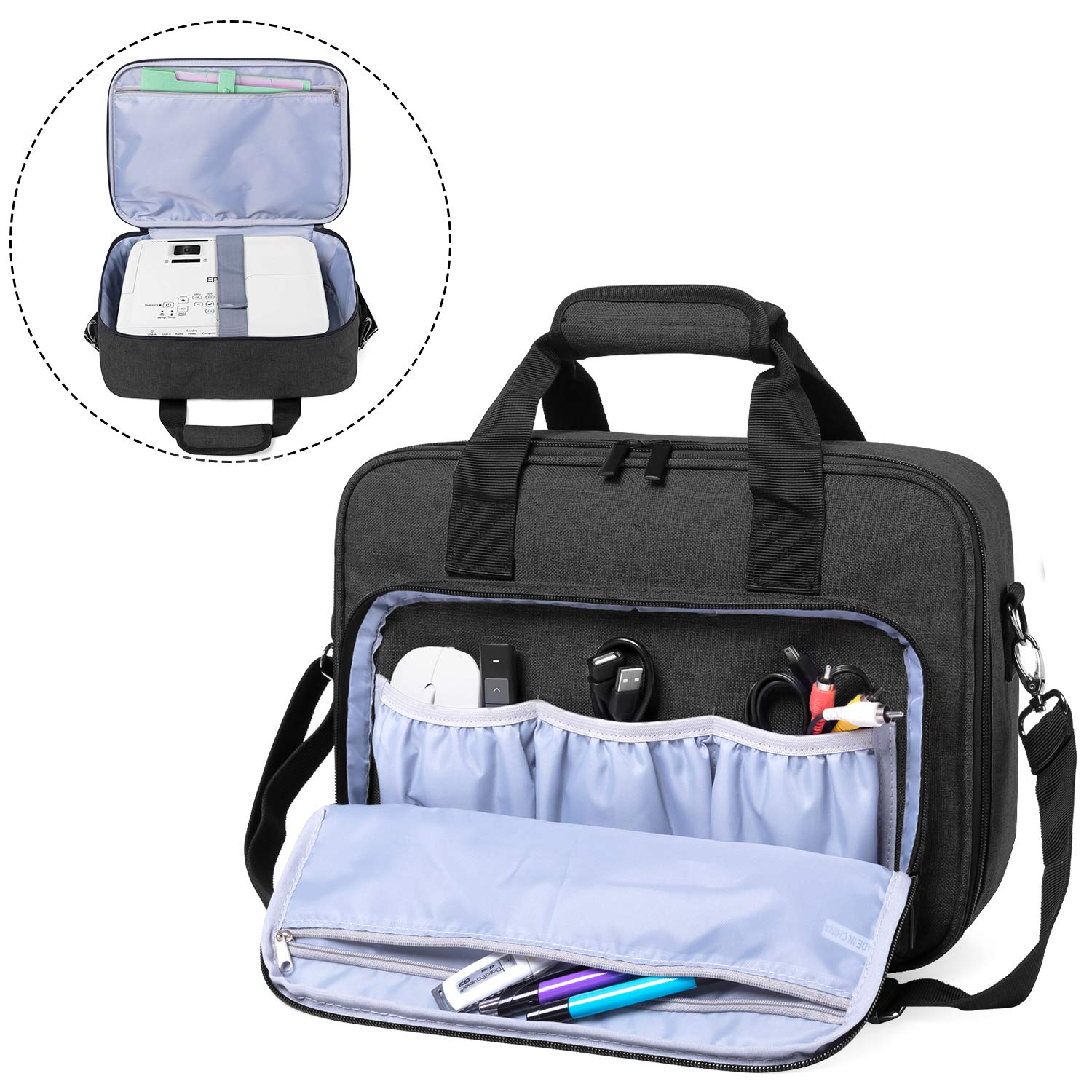 Luxja Projector Case, Projector Bag with Accessories Storage Pockets (Compatible with Most Major Projectors), Black by LUXJA