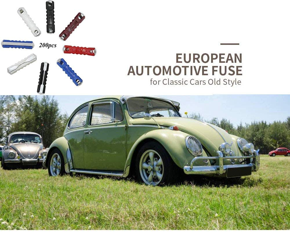 5A 8A 16A 25A 40A Continental Fuses Torpedo Type European Automotive Fuse for Vintage Classic Cars Old Style 200 Pcs