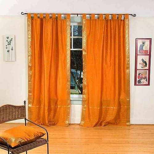 Indian Selections Lined-Mustard Tab Top Sheer Sari Curtain/Drape/Panel
