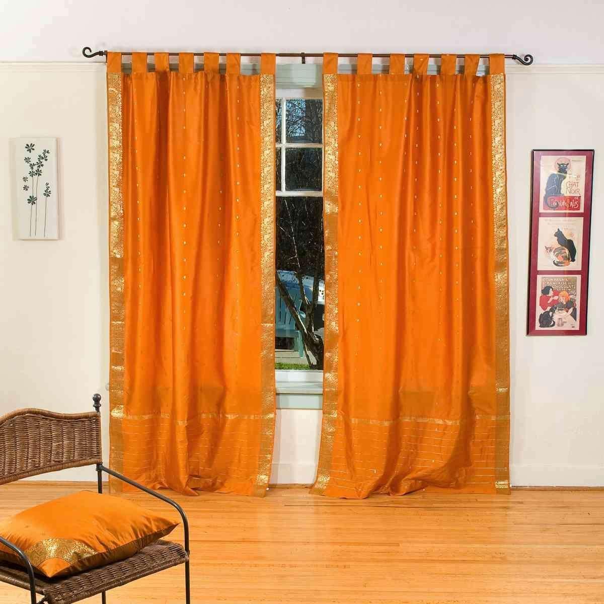 Indian Selections Mustard Tab Top Sheer Sari Café Curtain/Drape/Panel - 43W x 24L - Piece