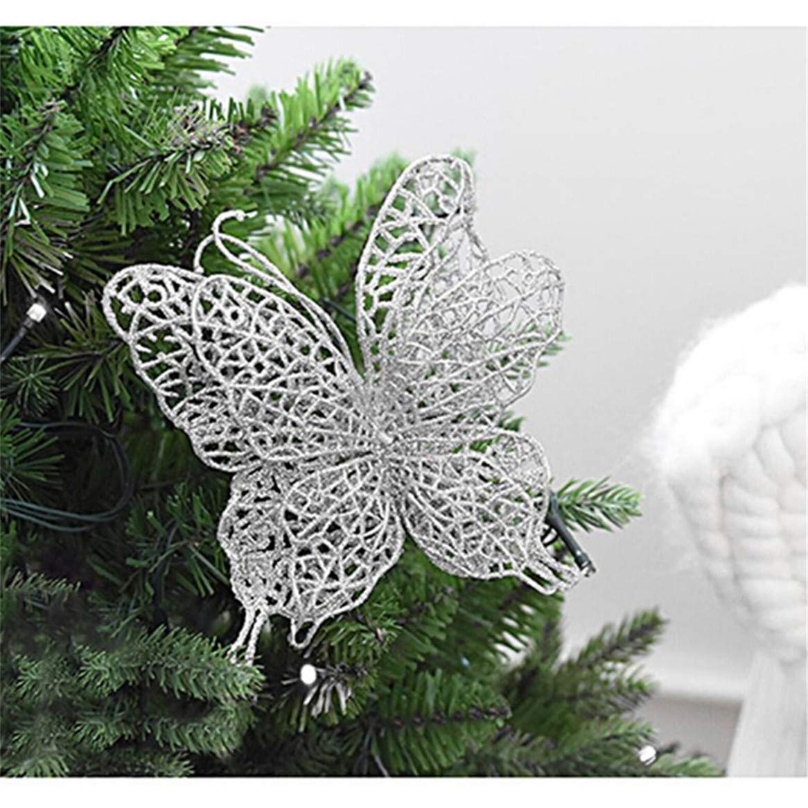 Botreelife 5Pcs Butterfly Christmas Tree Decoration Christmas Hanging Ornaments Wedding Birthday Party Decor Blue