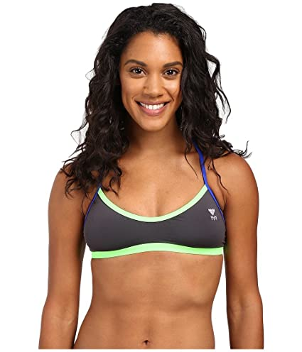 5bc846fd455dc TYR Women s Solid Brites Crosscutfit Top Grey Green Blue Swimsuit Top XS