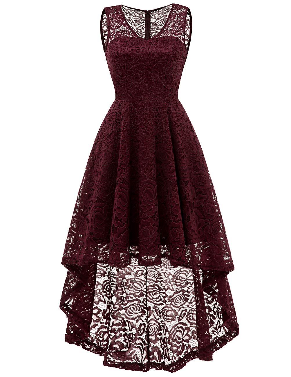 DRESSTELLS Women's Cocktail V-Neck Dress Floral Lace Hi-Lo Formal Swing Party Dress Burgundy XL