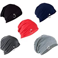 Ramanta Unisex Solid Beanie and Skull Caps (Multicolour, Free Size) - Pack of 5