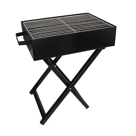 HOKIPO Folding Portable Iron BBQ Charcoal Grill Tool Kit,Black