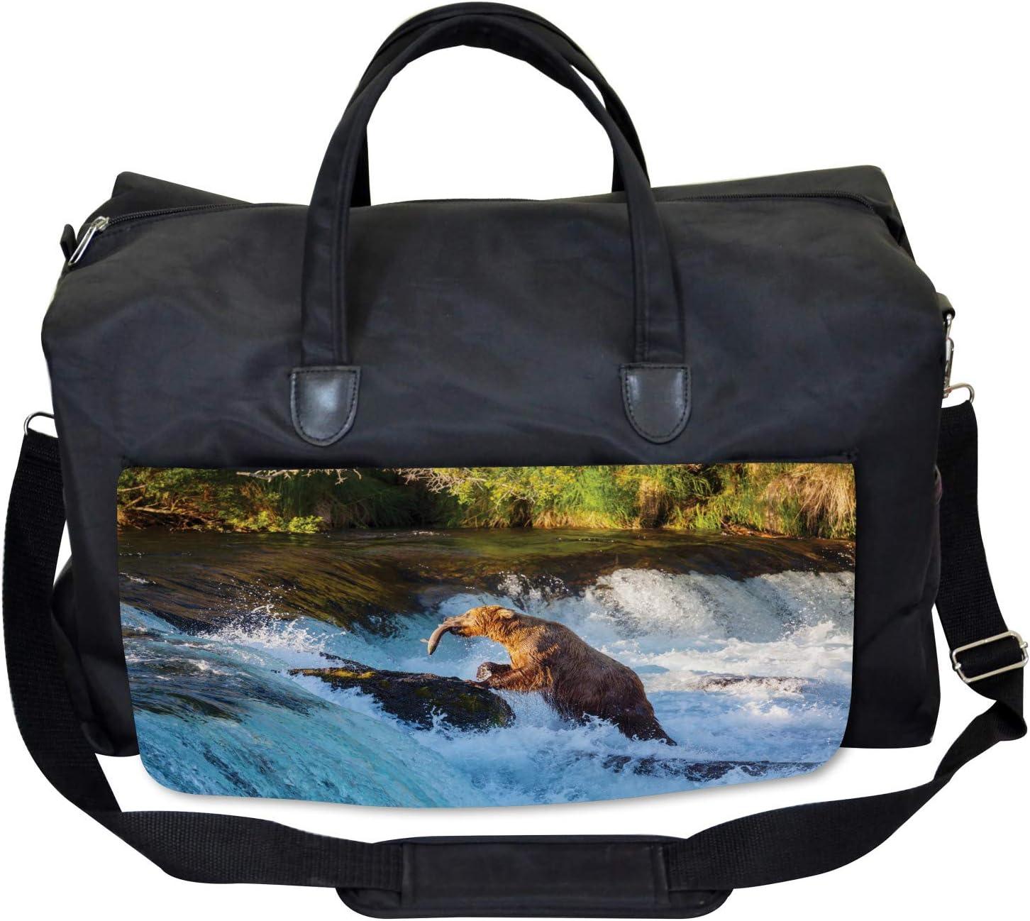 Large Weekender Carry-on Alaska Waterfall Wildlfie Ambesonne Bear Gym Bag