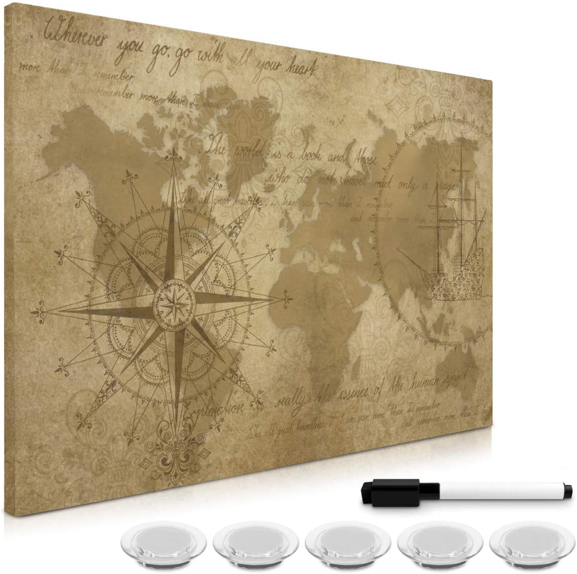 Navaris Magnetic Dry Erase Board - 16 x 24 inches Decorative White Board for Wall with Design, Includes 5 Magnets and Marker - Antique World Map