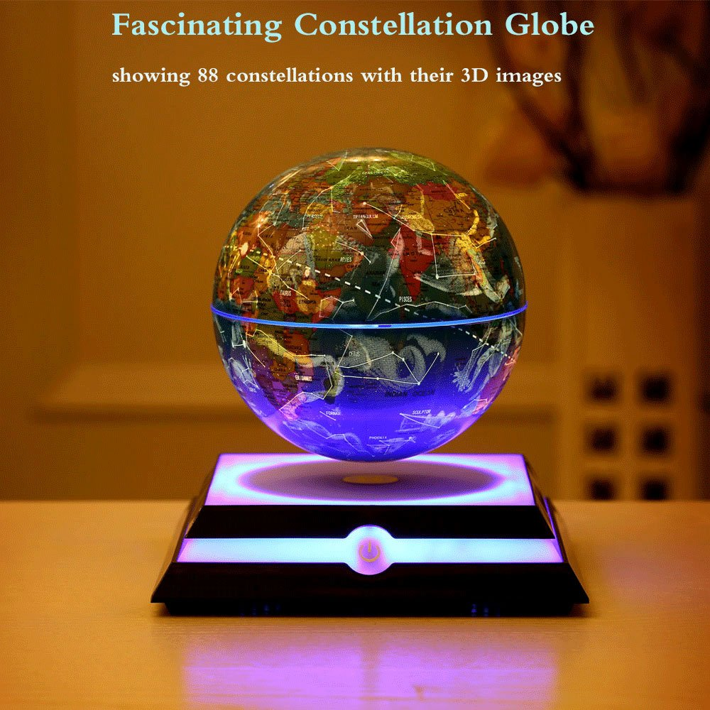 Levitating Globe, Magnetic Floating Rotating Globe with Illuminated Constellation Map for Home Office Decor, Christmas Birthday Gift 6 inch (Blue) by MFG (Image #4)