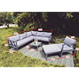 Nova Outdoor Furniture, Cushioned Outdoor Modular Set Grey 5PC