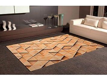 Oedim Tapis Carpette En PVC Motifs Imitation Parquet Triangle Sensation 3D  Bois Marron Clair| 95