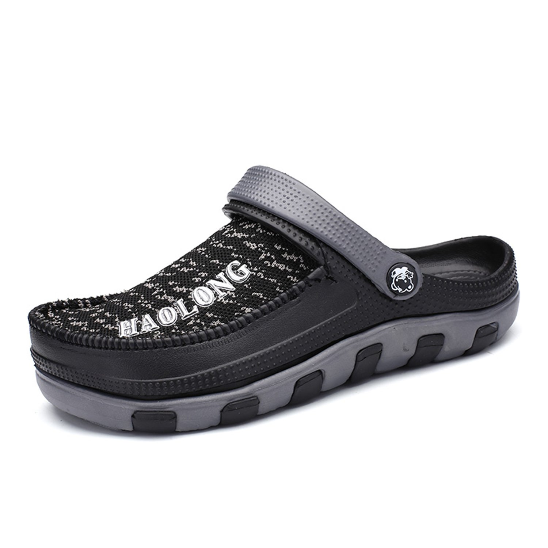 BARKOR Garden Shoes Men's Beach Shoes Ultralight Summer Aqua Breathable Comfort Slippers Outdoor Black-45