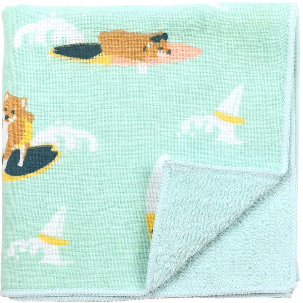 hamamonyo Gauze Pile Handkerchief (Hula Shiba Dog)