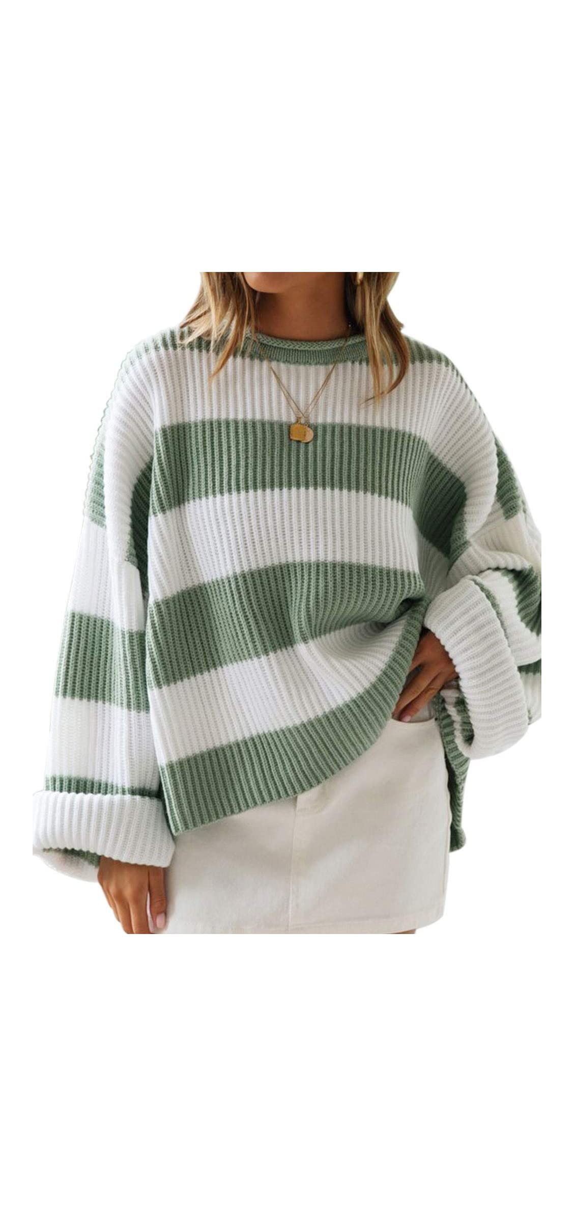 Women's Long Sleeve Crew Neck Striped Color Block Comfy