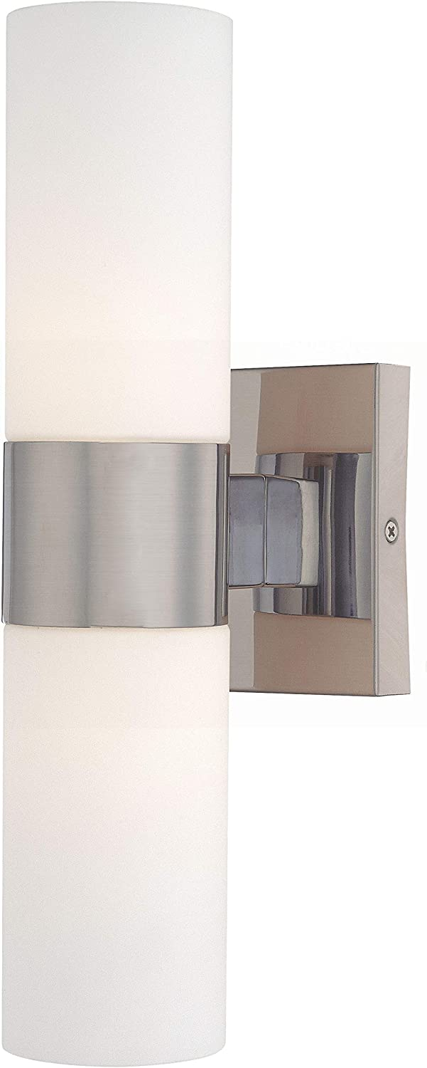 Minka Lavery 6212-84 Bath Vanity Bar Wall Lighting, 2-Light, 120 Watts, Brushed Nickel 14 H x 5 W