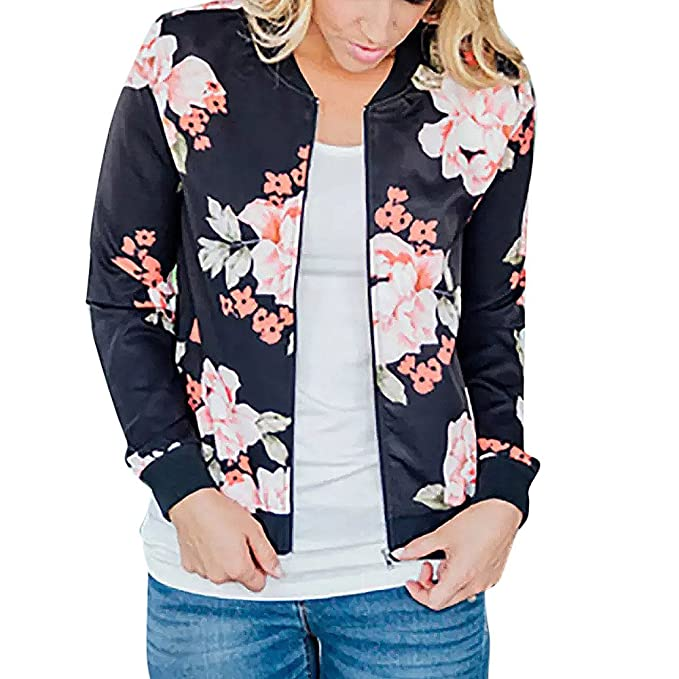 7533bfd8f Women Retro Floral Zipper Bomber Jacket Long Sleeve Casual Chic Coat ...