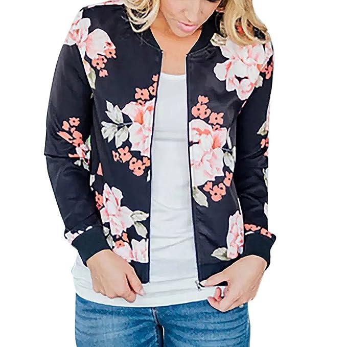 eea131df2 Women Retro Floral Zipper Bomber Jacket Long Sleeve Casual Chic Coat ...
