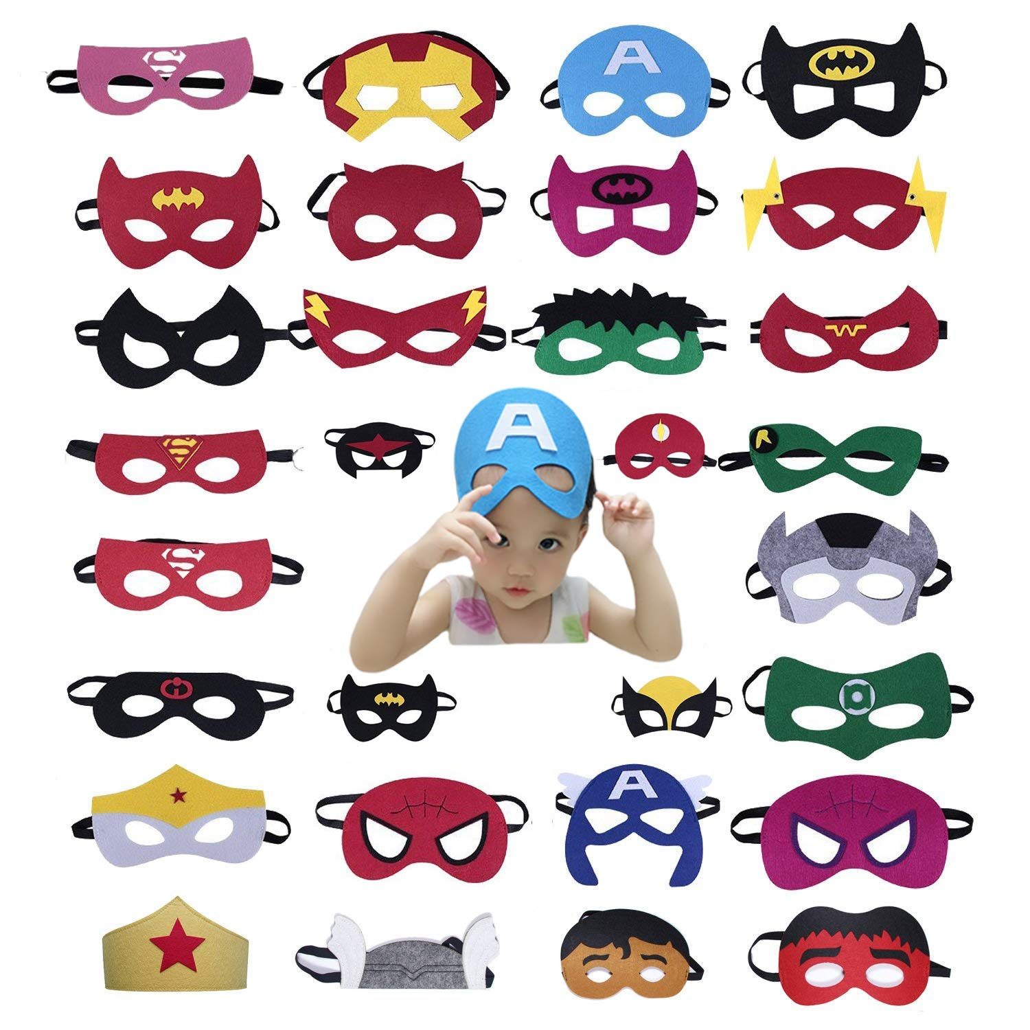 HZJY Superhero Masks 30 Packs Perfect for Birthday or Festival Party Dress up Costume Masks