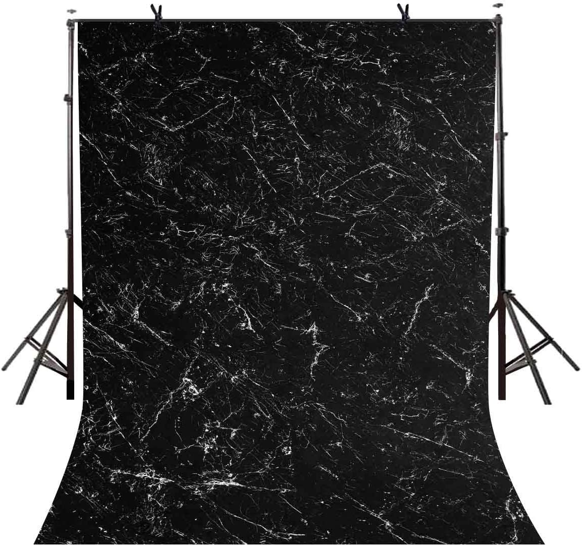 GoEoo 5x7ft Marble Texture Backdrop Minimalistic Black Marble Texture Photographic Background and Studio Photography Backdrop Props LYGE747
