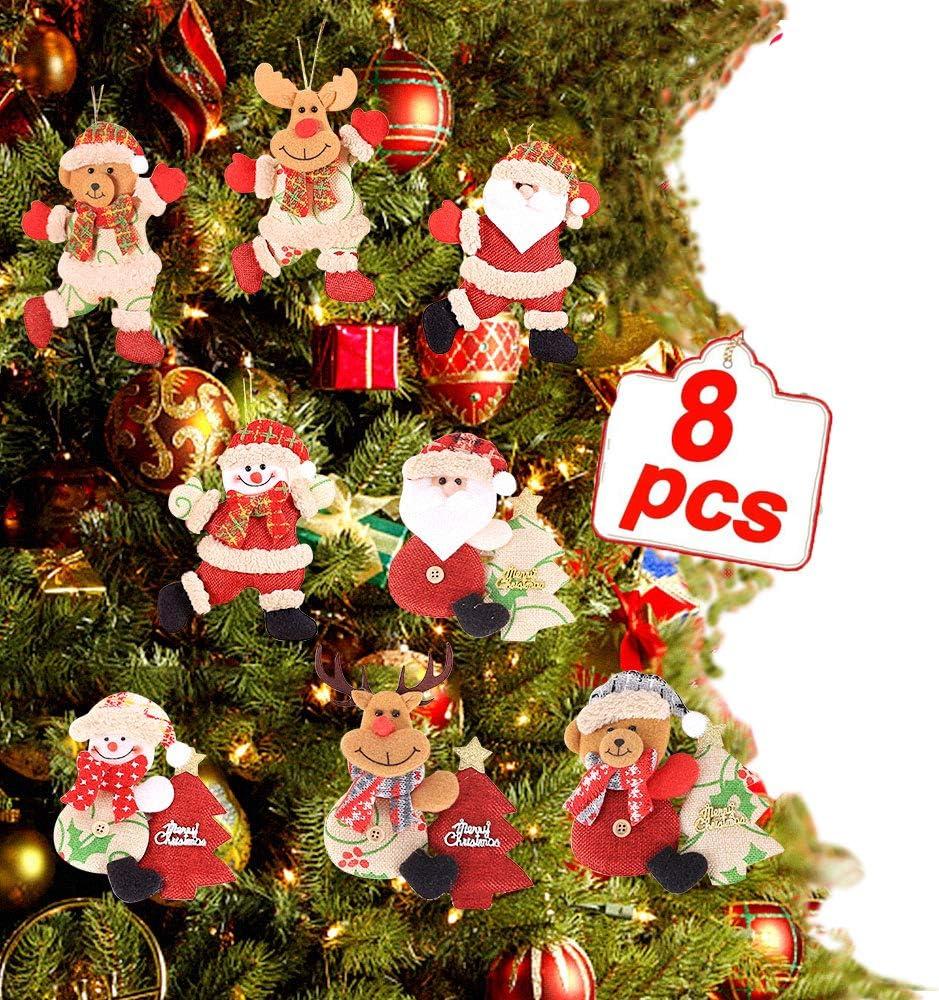 AmFor 8 Pcs Plush Christmas Ornaments Set, Christmas Tree Pendant Decorations Santa Claus/Snowman/Reindeer/Bear Xmas Hanging Ornaments for Home Holiday Party Decor