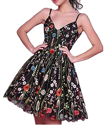 Dressesonline Womens Black Floral Embroidered Short Prom Dresses Cockatil Dress at Amazon Womens Clothing store: