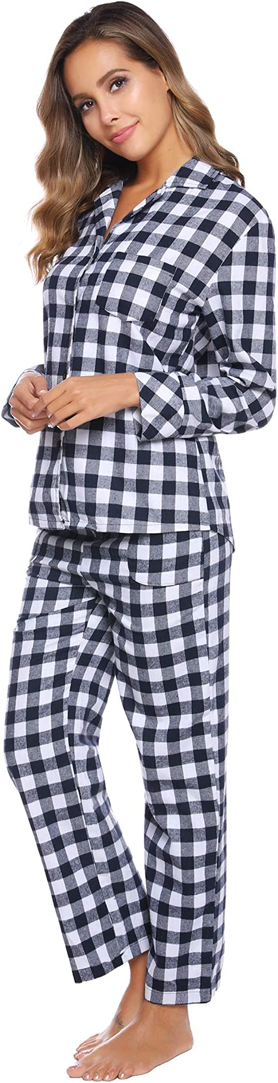 Mode Simple Style Classique PyjamaEnsemble de Pyjama en Flanelle Aibrou Pyjama Femmes Hiver