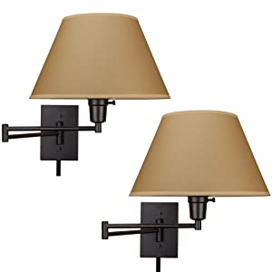 """Kira Home Cambridge 13"""" Swing Arm Wall Lamp - Plug in/Wall Mount, Opaque Paper Shade, 150W 3-Way + Cord Covers, Black Finish, 2-Pack"""