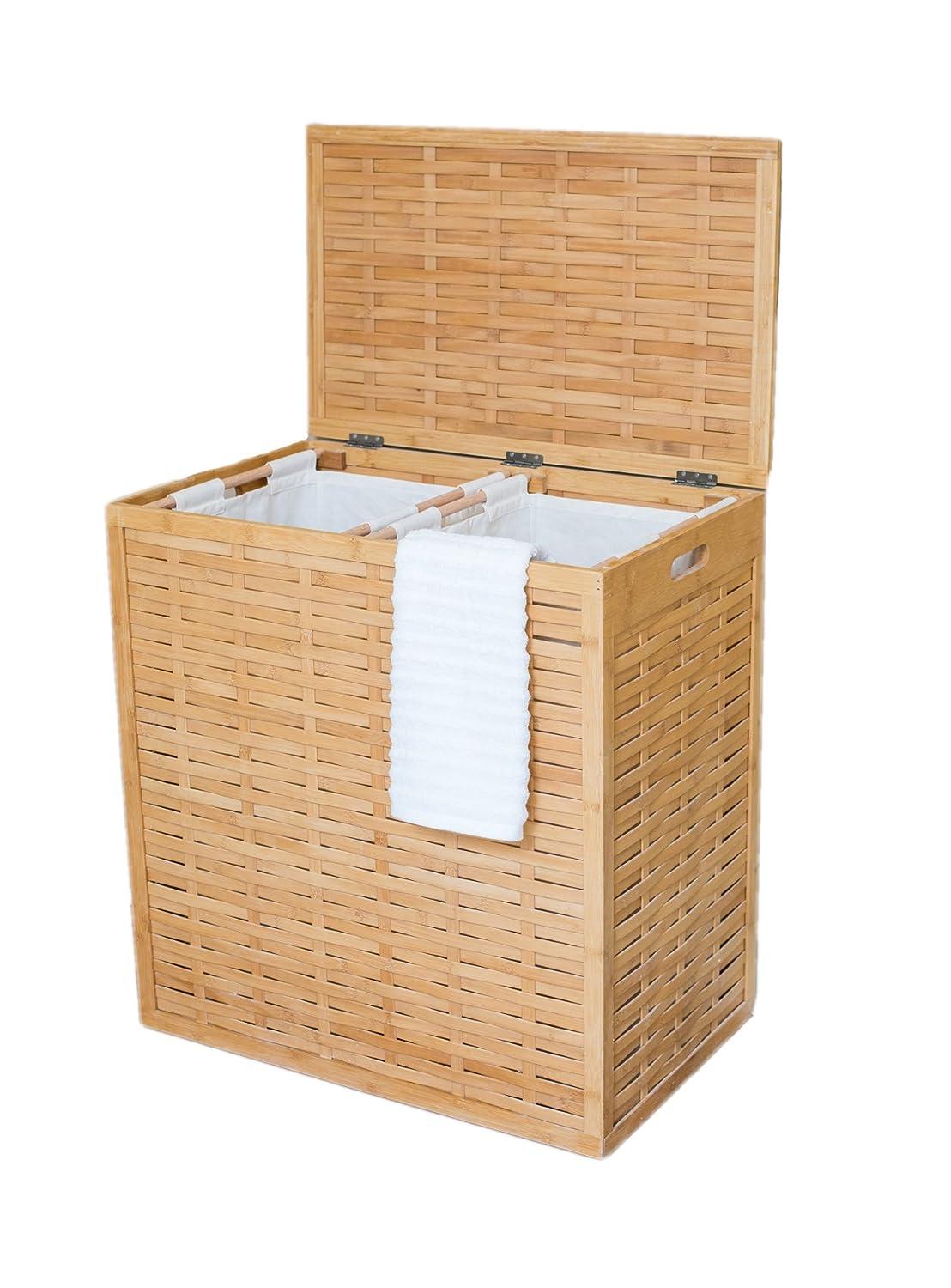 Big Divided Natural Bamboo Laundry Basket