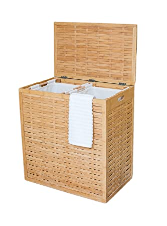 Perfect BirdRock Home Oversized Divided Clothes Laundry Hamper | Made Of Natural  Bamboo | 2 Sections | Photo