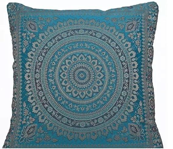Funda para cojín hindú con bordado de mandala, de seda étnica, de 40,6 cm x 40,6 cm