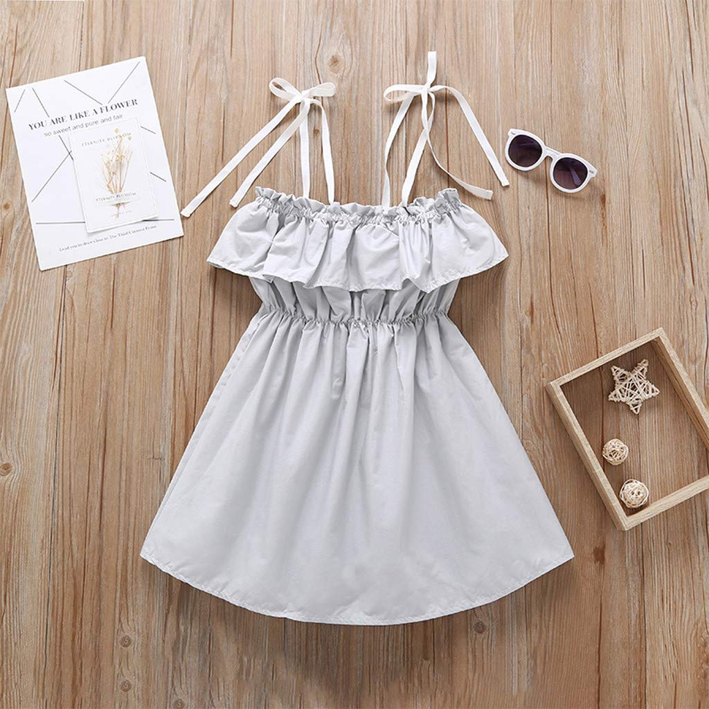 SIN vimklo Childrens Clothes Princess Sleeveless Ruffle Suspender Dress Outfit