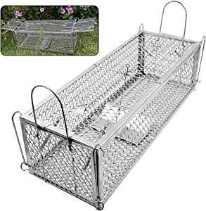 Lulu Home Dual-Door Mouse Trap Cage, Humane Live Cage Trap for Rat Chipmunk Rodent Voles Hamsters, No Kill Catch and Release Mice Trap That Work for Indoor Outdoor Use