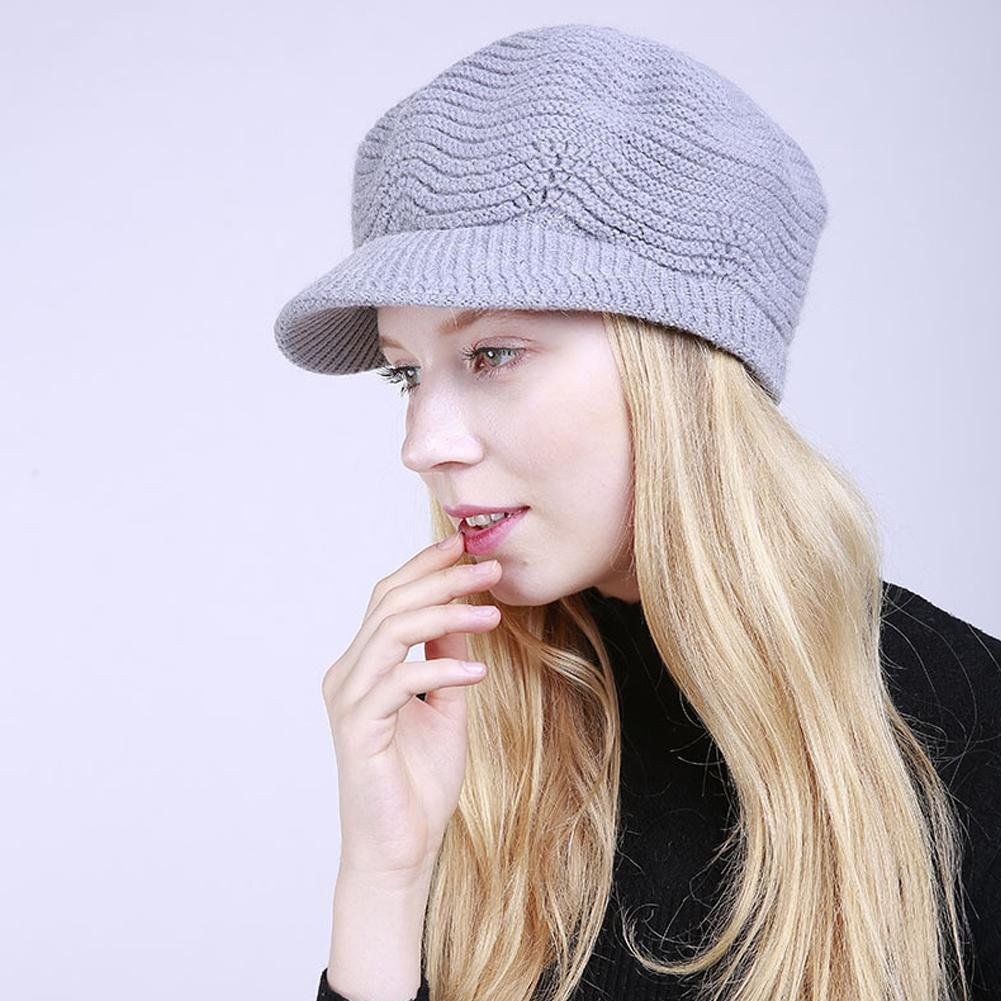 Angel3292 Winter Women Girls Solid Color Cashmere Warm Knitted Hat Cap Christmas Present