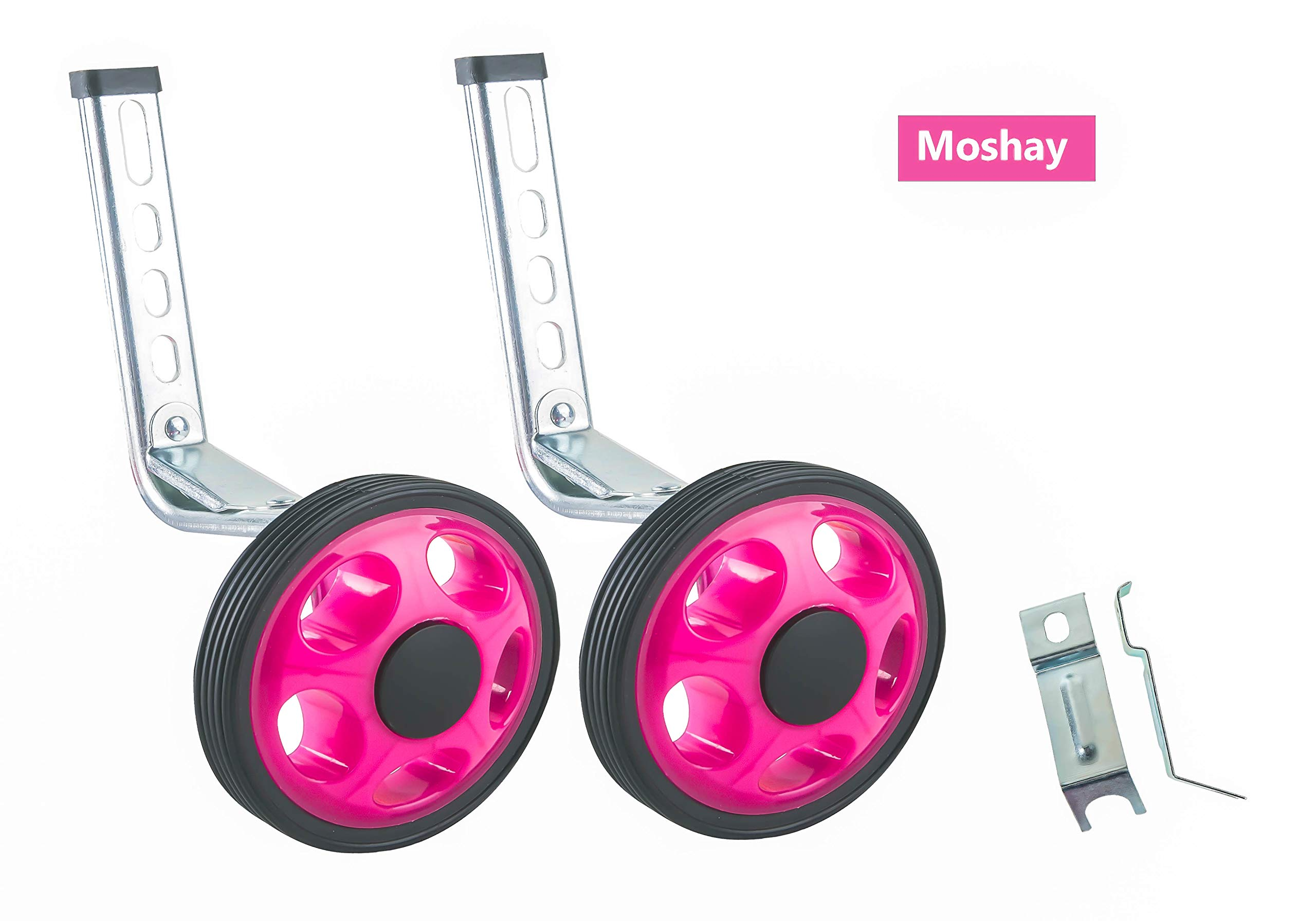 Pink MOSHAY Bicycle Training Wheels Fits 16 18 20 22 24 inch Kids Variable Bike