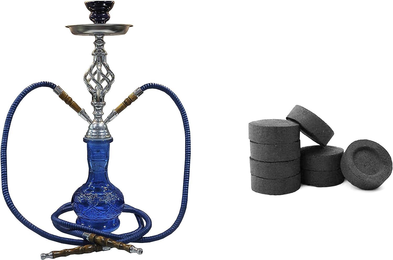 JOVAL® - Set de cachimba shisha o hookah de 45 cm de alto y carbón vegetal de combustión lenta. De cristal y metal, con doble manguera para fumar. Depósito de cristal de 500ml. (azul)