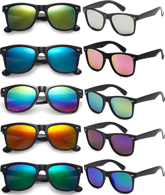 FSMILING 10 Pack Gafas De Sol Vintage Gafas De Fiesta Divertidas Para Adultos Niños,lote Gafas Fiesta Colores Con Protección Uv