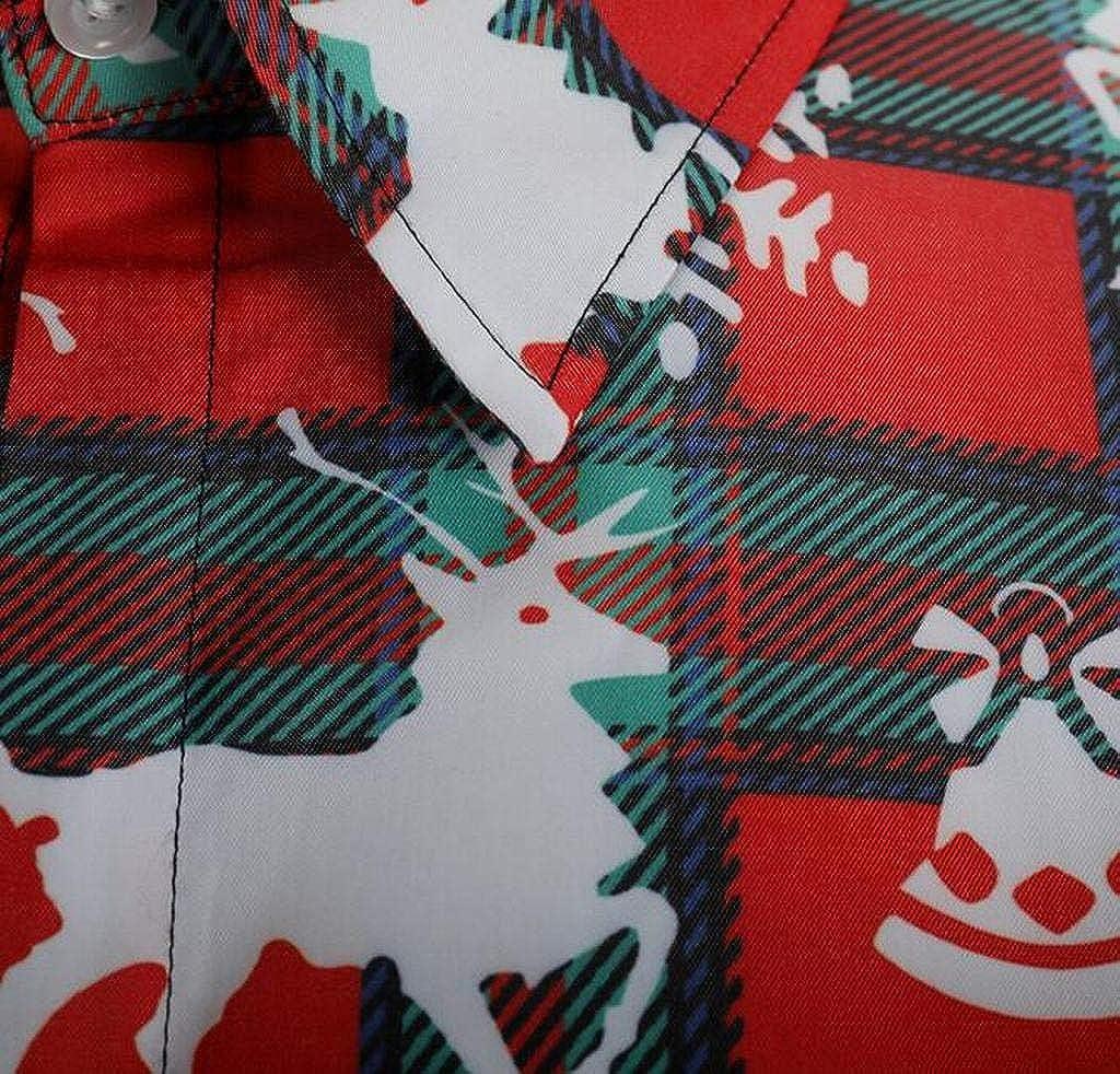 FSSE Mens Christmas Plaid Business Button Down Long Sleeve Dress Work Shirt
