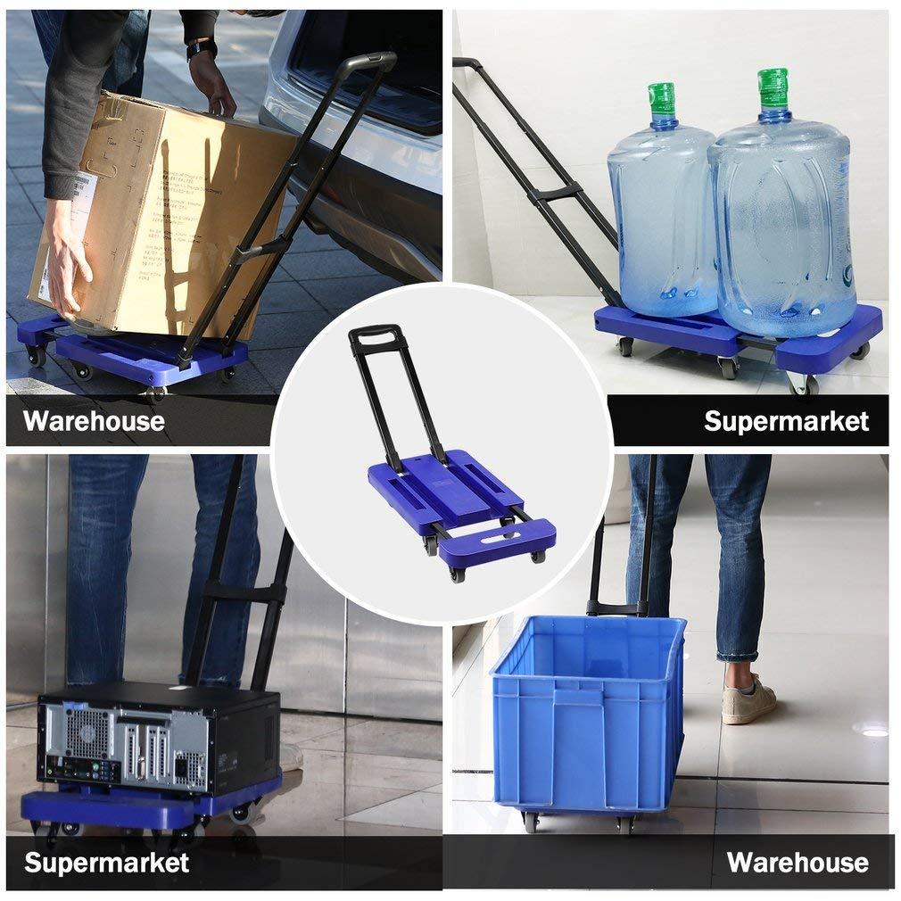 Graspwind Hand Truck Folding Luggage Cart 3-fold Handle 360°Rotate 6 Wheels and Free Rope Travel Trolley 440lbs (Blue) by Graspwind (Image #8)