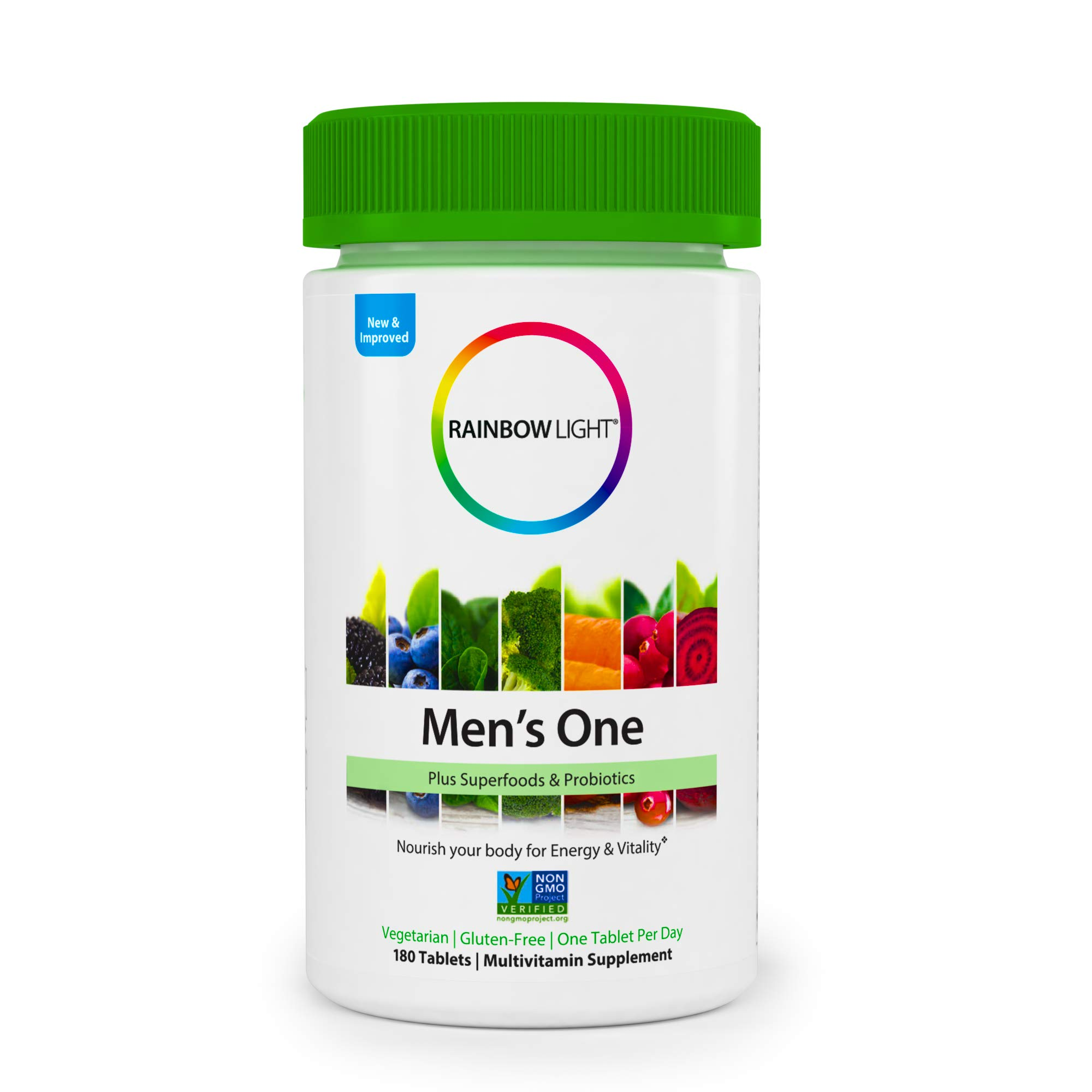 Rainbow Light - Men's One Multivitamin Non-GMO Bonus Size - Plus Superfoods, Probiotics, and Plant-Source Enzymes; Vegetarian and Gluten Free - 180 Tablets by Rainbow Light (Image #2)