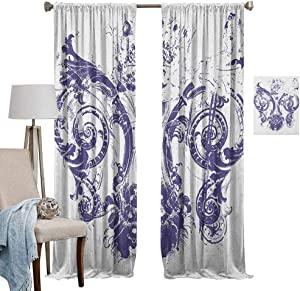 """MartinDecor Full Shading Curtains - Fleur De Lis Curtain Light Filtering Digital Grunge Lily Emperor Flag Victorian Kingdom Imperial Theme Print for Bedroom, (2 Panels,52""""x108"""") Purple White"""