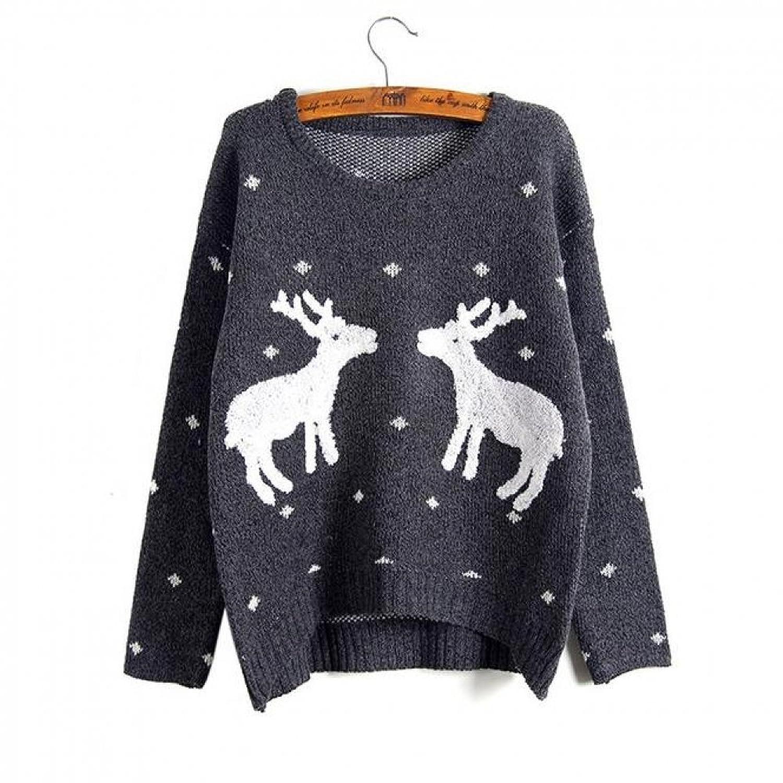 Kissemoji Winter And Christmas Women Reindeer Sweater Pullovers