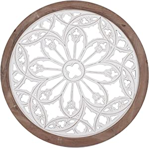 Funly mee Vintage Round Wall Decor with Frame,Wood Grille Wall Sculptures 25.6 in