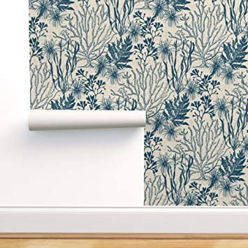 Spoonflower Peel And Stick Removable Wallpaper Seaweed Nautical Ocean Coral Anemone Under The Sea Print Self Adhesive Wallpaper 12in X 24in Test Swatch Amazon Com